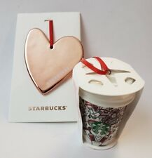 2 Starbucks Christmas Tree Ornaments Red Cup & Rose Gold Heart Holiday 2017 New