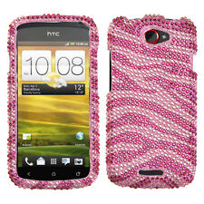 For T-Mobile HTC ONE S Crystal Diamond BLING Hard Case Phone Cover Pink Zebra
