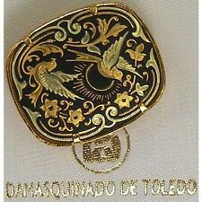 Damascene Gold Dove of Peace Design Rectangle Brooch by Midas of Toledo Spain