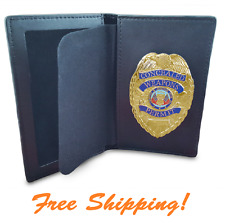 CONCEALED CARRY BADGE GUN PISTOL WEAPON PERMIT police CCW GOLD and WITH WALLET
