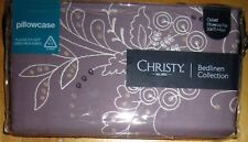 CHRISTY Oxford Pillowcase PAIR Cotton Embroidered FABIAN FIG