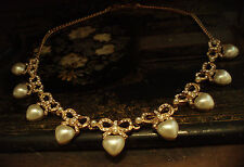 Butler & Wilson Vintage Pearl Heart with Gold & Crystal Bow Necklace
