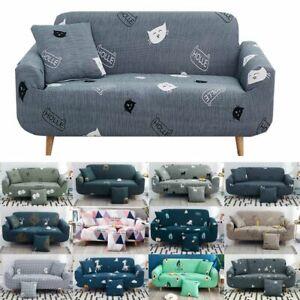 1/2/3/4 Seater Sofa Protector Antislip Cover Geometric Flower Pattern Slipcover