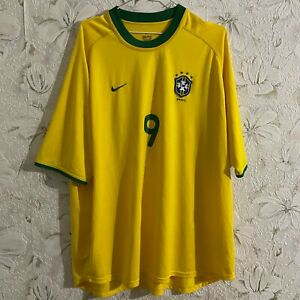 Brazil Home football shirt 2000 - 2002 #9 RONALDO Nike Soccer Jersey Size 2XL