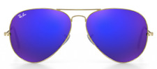Authentic Ray-Ban Aviator RB3025 Gold Frame Blue/Violet Flash Mirror Lens 58mm