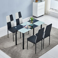 Modern Checker Glass Dining Table w/ 4Pcs Chairs Kitchen Dining Set Furniture Us
