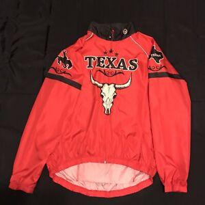 Mens Canari Cycling Windbreaker Pullover Jacket Red Texas Longhorn Skull Sz XL