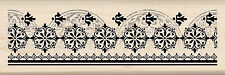 Rubber Stamp Wood Vintage Antique Lace Border Intricate Invitation Wedding Cream