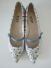 STEP floral & striped fabric kitten heel shoes - size 39, 6. BNWT
