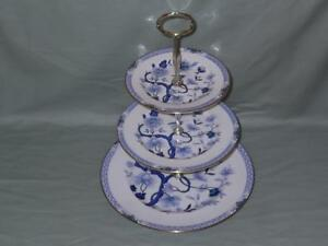 Royal Grafton Dynasty 3-Tier Hostess China Cake Plate Stand Blue & White