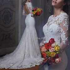 New White/Ivory Lace Mermaid Long Sleeve Wedding Dress Bridal Gown Custom Size