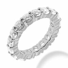 2.85 ct Round Diamond Ring Platinum Eternity Band, Size 5.75 0.15 ct each