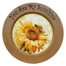 Vintage Round Crackled Sunflower Decor Plate Home Tabletop Display Wooden Plate