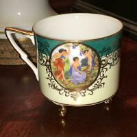 Antique Tea Cup Hand Painted Victorian Cameo Porcelain Gold Gilt