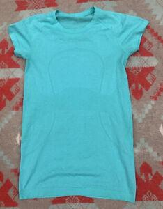 Lululemon Run Swiftly Tech Turquoise Blue Green Shirt Sz 4