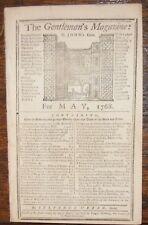 1768 GENTLEMAN'S MAGAZINE MASSACHUSETT'S BAY GOV. BARNARD BRAIN INJURY HEBREW MS