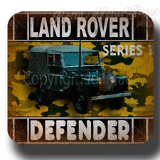LAND ROVER DEFENDER SERIES 1   VINTAGE RETRO  METAL TIN SIGN WALL CLOCK