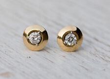 1 CT VVS1 Diamond Stud Earrings 14K Yellow Gold Over Daily Wear Push Baking