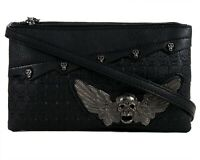 GOTHX SKULL HEAD WING Metal Ladies Handbag Clutch Evening Rock Goth Gothic Bag