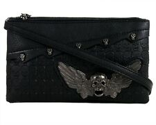 GOTHX SKULL HEAD WING Metal Ladies Handbag Clutch Evening Rock Goth Gothic Bag