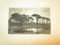 Adolphe GUILLON (1829 - Vezelay 1896) EAU FORTE ORIGINALE PAYSAGE BARBIZON 1870