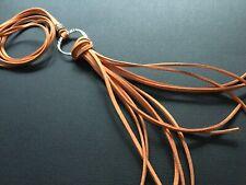 Long ORANGE suede Necklace With A BIG HOOP AND TASSEL Lagenlook Boho