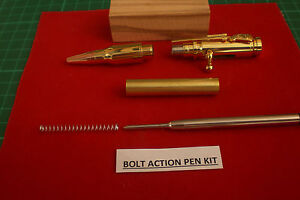 Bolt Action Pen Kits In Gold with Predrilled Olive Blank