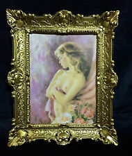 Akt Erotik Gemälde gerahmte Bild 56x46 Frau Nackt Bild mit Rahmen Barock 04