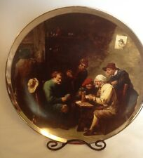 Vintage Pall Mall Ware F.W.R. Plate Men Playing Card  Game Thick Silver Trim