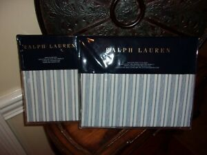 Ralph Lauren Islesboro McKensie Stripe Blue Cream King Fittted Sheet & Cases 3pc