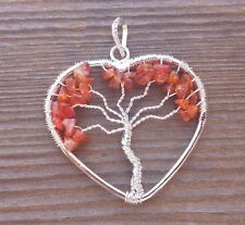 HEART STYLE CARNELIAN TREE OF LIFE WIRE WRAPPED PENDANT STONE GEMSTONE