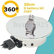 """8"""" Battery Powered Jewelry Mirror Effect Rotating Rotary Display Stand Turntable"""