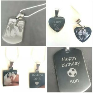 Personalised Engraved Necklace Dog Tag, Heart, Square Pendant, Photo Image Text
