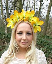 Large Yellow Orchid Flower Fascinator Headband Headpiece Garland Races 50s 2212