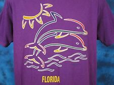 vintage 90s Florida Dolphin Sunset Buttery Soft T-Shirt Large beach surf thin