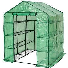 Serre de jardin metal PE plastique tente abri légume fruit plante 143x143x195cm