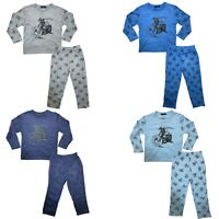 Boys Kids Pyjamas Long Sleeve Top Bottom Set Nightwear PJs Cotton Motorbike New