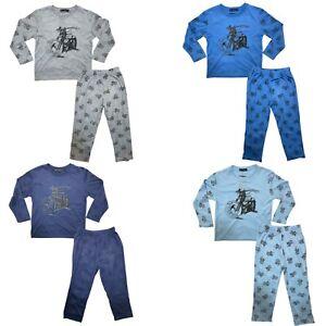 Boys Kids Pyjamas Long Sleeve Top Bottom Set Nightwear PJs Cotton Motorbike New