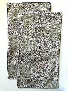 2 Laura Ashley Queen/King Pillow Shams Purple Scroll Paisley Floral 20x35