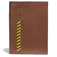Coach Leather Passport Case w/ Baseball Stitch Wallet - Saddle