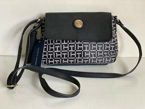 NEW! TOMMY HILFIGER BLACK FLAP CROSSBODY MESSENGER SLING BAG PURSE $69 SALE