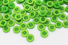 Green Button Sew On Four Holes Baby Children Small Blouse Shirt Bead 11mm 20pcs