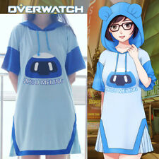 Game Overwatch Mei Long T-shirt Tee Hooded Short Sleeve Dress Cosplay Costume