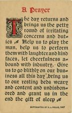 Arts Crafts Prayer Saying C-910 Wells postcard 3042