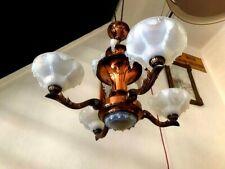 superbe LUSTRE ART DECO EZAN SABINO OPALESCENT BLEU style boris lacroix lampe