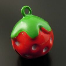 10pcs Multi Color Copper Strawberry Bell Pendants Charm Craft Findings