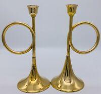 """Set Of 2 VTG Lg Solid Brass Horn Trumpet Candlesticks Candle Holder Decor 8""""H."""