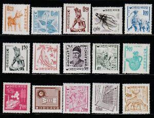 Korea   1964-66   Sc # 360a-371(15val.)   1st Granite Paper    VLH   (1687-5)