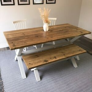 """Reclaimed Wood, Farmhouse Dining Table and Benches, F&B colours Handmade """"Ashby"""""""