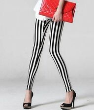 personality Black white stripe Tights Punk Pantyhose velvet  Stocking